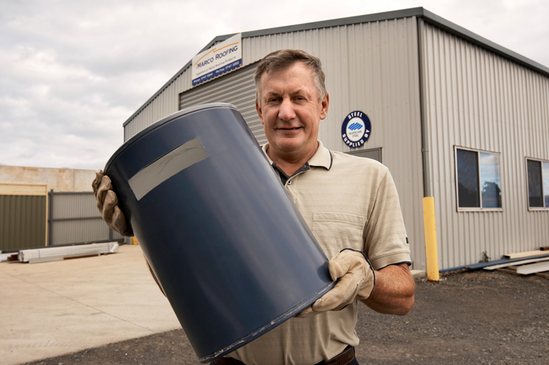Superior Eric Marsh Of Marco Roofing With An Industrial Gutter Guard. Marco Roofing  Participates In The STEEL BY™ Brand Partnership Program