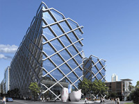 The Macquarie Bank Centre in Sydney supported by an innovative grid like outer structure made from XLERPLATE® steel.