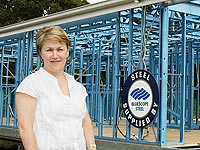 Newcastle Steel Frames and Trusses owner Sally Robertson is fabricating framing systems made from TRUECORE® steel for 250 transportable homes for a retirement village