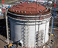 Huge LNG tanks like this, manufactured from XLERPLATE® steel, will hold gas from the Pluto field.