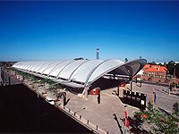 The roof of the Olympic Park Railway Station, NSW, is made from ZINCALUME® steel comprising 18 arched steel frames in a folded vault configuration.