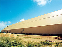 Bulk sulphur strorage warehouse, Kwinana, Western Australia is clad in PERMALITE ALSPAN®