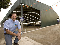 Bayside Steel Structures' owner Malcolm Robertson outside the Woodchop Pavillion at Melbourne Showgrounds