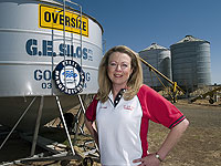 Lyn Comer of G.E. Silos, a member of the STEEL BY™ Brand Partnership Program, manufactures grain and pellet silos for farmers from ZINCALUME® steel