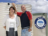 Slimline Rainwater Tanks,a member of the STEEL BY™ Brand Partnership Program, sells about 140 slim tanks a month made from AQUAPLATE® steel, according to owners Lesley Wilson and Ian Carruthers.