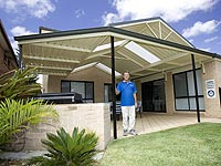 Colin Tarman, whose company builds pergolas with roofing made from LYSAGHT TRIMDEK® or LYSAGHT CUSTOM ORB®. Tarnel Constructions is a member of the STEEL BY™ Brand Partnership Program.
