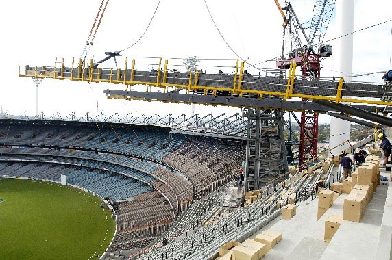 The new roof for the Northern Stand of the Melbourne Cricket