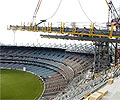 The new roof for the Northern Stand of the Melbourne Cricket Ground is a cable net structural system which uses 4,500 tonnes of structural steel supplied by BlueScope Steel.