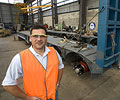 Jim Xidis of Brentwood Trailers, a member of the STEEL BY™ Brand Partnership Program, with a low loader