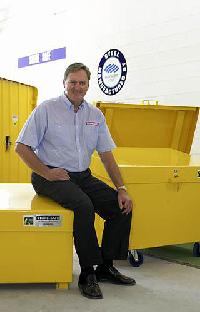 Store Safe's Grant Breeze with some of his company's original safe storage containers